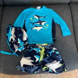 Carter's two piece bathing suit with matching hat